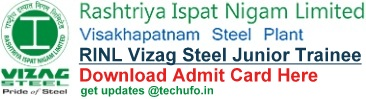 Vizag Steel Junior Trainee Admit Card RINL VSP Call letter download