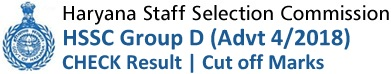 HSSC Group D Result Merit List Cut off Marks