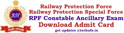 RPF Constable Ancillary Admit Card Download Hall Ticket Call Letter