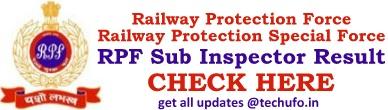 RPF SI Result Sub Inspector Merit List Cut off Marks