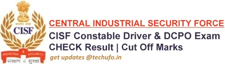 CISF Constable Driver Result Cutoff Marks DCPO Merit List