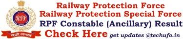 RPF Constable Ancillary Result Cut off Marks Merit List
