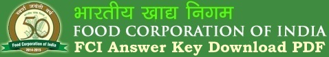 FCI Answer Key Download