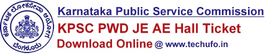 KPSC Karnataka PWD Admit Card Download KPWD AE JE Hall Ticket