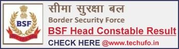 BSF Head Constable Result Cutoff Marks Merit List