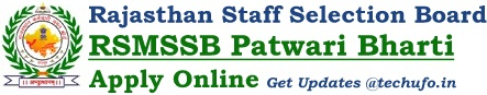 RSMSSB Patwari Recruitment Rajasthan Notification Online Form