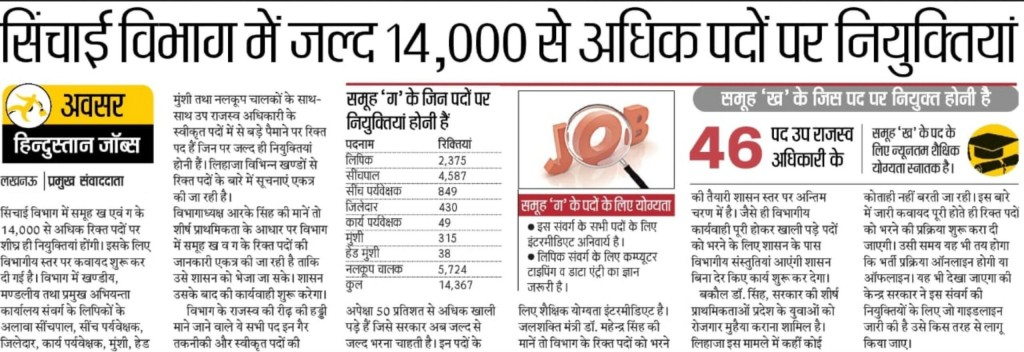 UP Irrigation Department Recruitment Sichai Vibhag Bharti 2020 2021 Update Newspaper Cutting