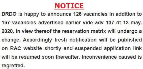 DRDO RAC Important Notice 2020