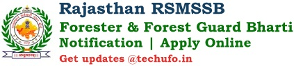 RSMSSB Rajasthan Forest Guard Recruitment Notification Vanrakshak & Forester Posts Apply Online Application Form