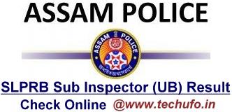 Assam Police SI Result SLPRB Sub Inspector UB Merit List Cutoff Marks