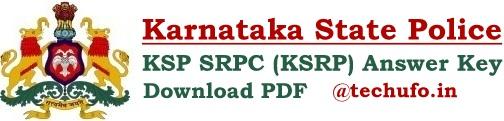 KSP SRPC Answer Key Download KSRP Constable Bandsmen Exam Paper Solution