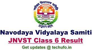 Navodaya JNVST Class 6 Result JNV Class-VI Selection Test Merit List Region wise
