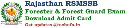 RSMSSB Forest Guard Admit Card Download Rajasthan Forester FG Exam Date & Hall Ticket