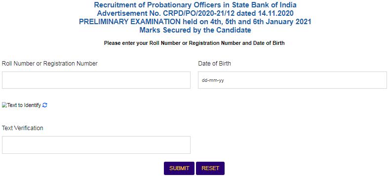 SBI Probationary Officer Pre Exam Scorecard Login Page
