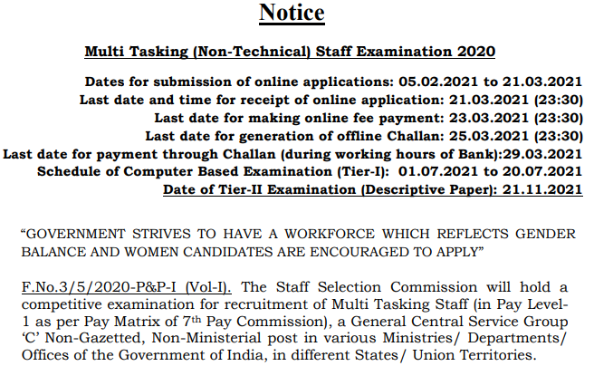 SSC Multi Tasking Staff (NT) Exam 2020 Notice