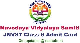JNVST Class 6 Admit Card Download Navodaya Vidyalaya NVS Admission Entrance Exam Hall Ticket