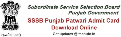 Punjab Patwari Admit Card Download PSSSB Zilladar Clerk Exam Call Letter Hall Ticket