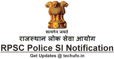 RPSC SI Platoon Commander Recruitment Rajasthan Police Sub Inspector Notification Online Application