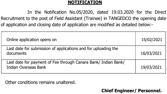 TANGEDCO Field Assistant Trainee Application - Important Dates 2021