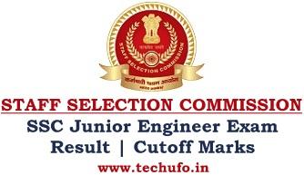 SSC JE Result Junior Engineer Cut off Marks JEN Merit List