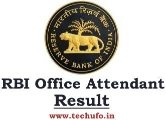 RBI Office Attendant Result Online Exam Merit List Cutoff Marks Scorecard