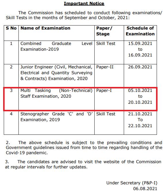 SSC MTS Paper 1 Exam Date Notice 2021