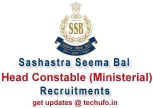 SSB Head Constable Recruitment HC Ministerial Notification Apply Online Application Form