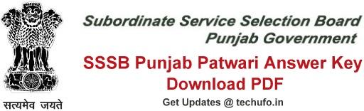 Punjab Patwari Answer Key Download PSSSB Zilladar Clerk Exam Answer Sheet PDF