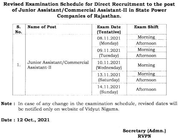 RVPN Junior Assistant Exam Rescheduled Date 2021
