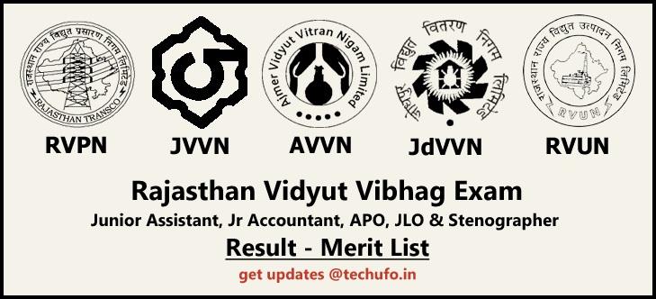 RVPN Result Rajasthan RVPNL Junior Assistant, Jr Accountant, APO, JLO, Steno Merit List RVUNL JVVNL JdVVNL AVVNL Results